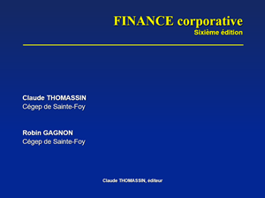 finance corporative de claude thomassin et robin gagnon pdf